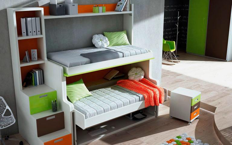 Двухъярусная кровать для детей со столом трансформером внизу