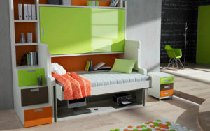 Подъёмная двухъярусная кровать со столом трансформером