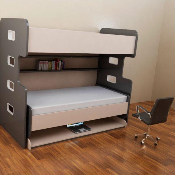 Фото двухъярусной кровати с трансформируемым спальным местом в стол