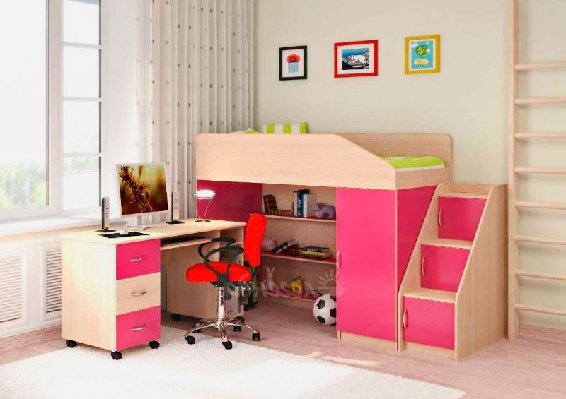 Детская двухъярусная кровать со столом (13)