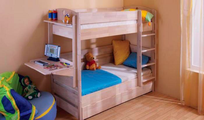 Детская двухъярусная кровать со столом (14)