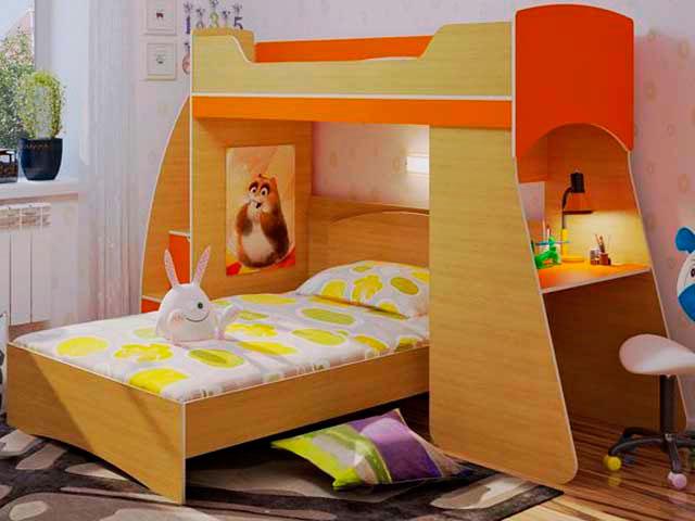 Детская двухъярусная кровать со столом (15)