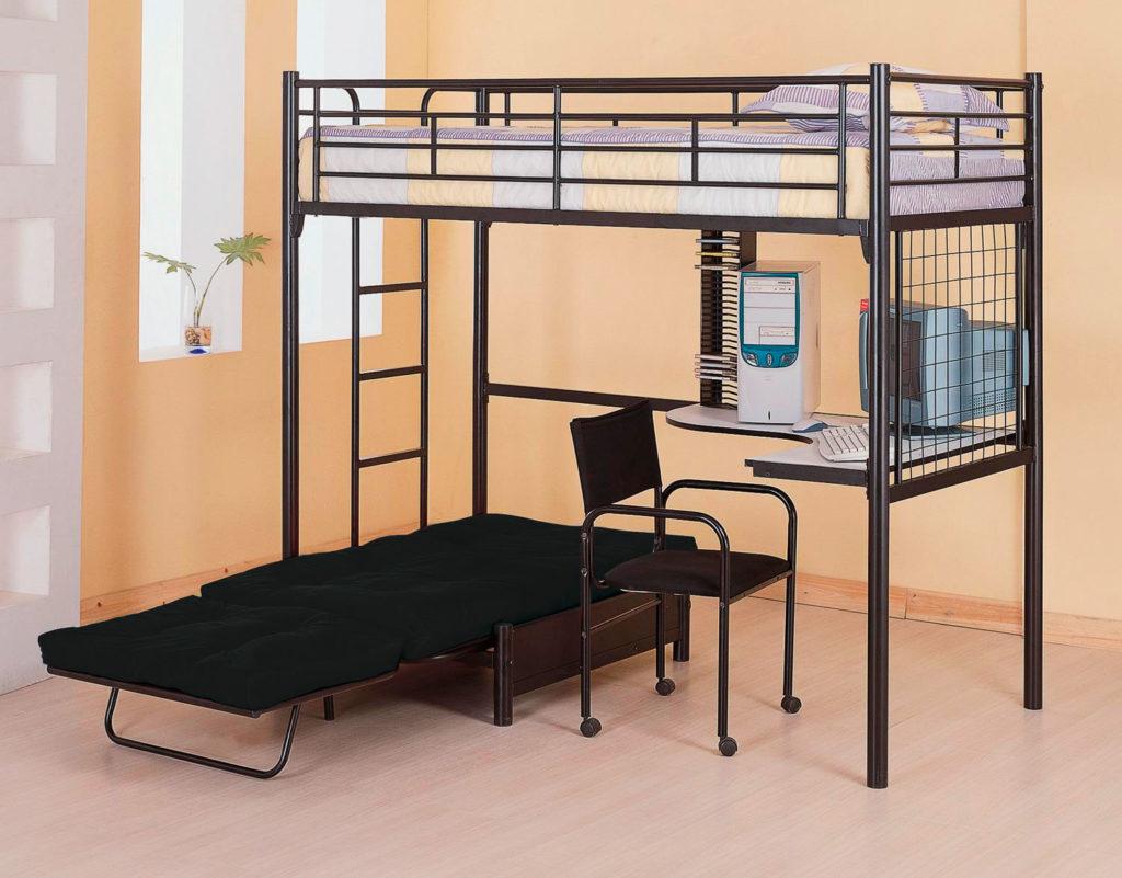 Металлическая двухъярусная кровать с рабочей зоной