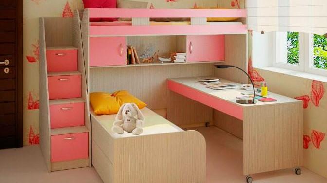 Двухъярусная кровать со столом для девочек