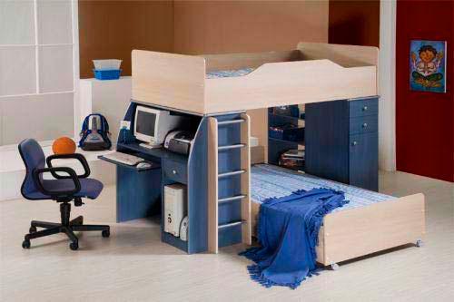 Детская двухъярусная кровать со столом (19)