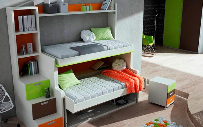 Двухъярусная кровать с нижним спальным местом трансформируемым в стол