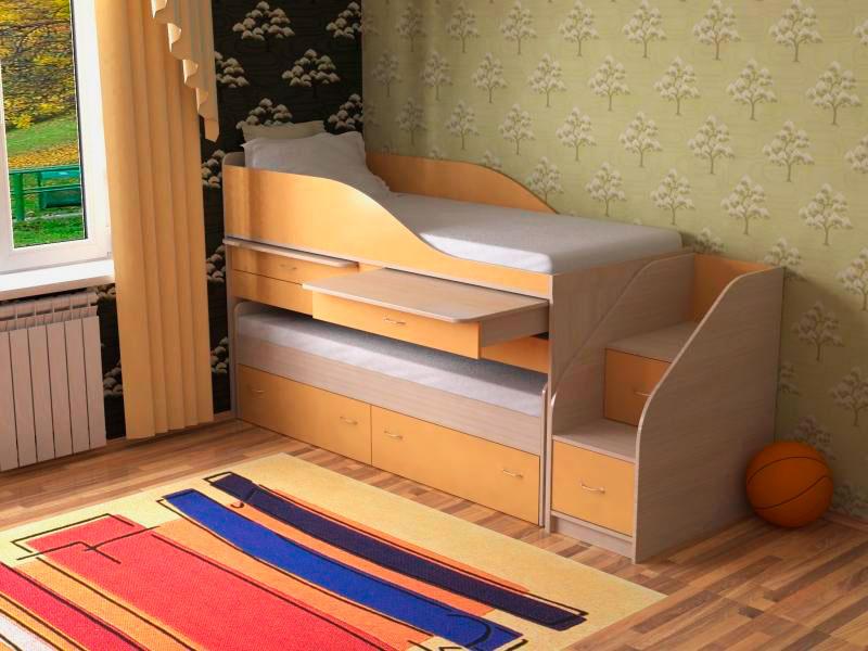 Двухъярусная кровать-матрешка с выдвижными столами