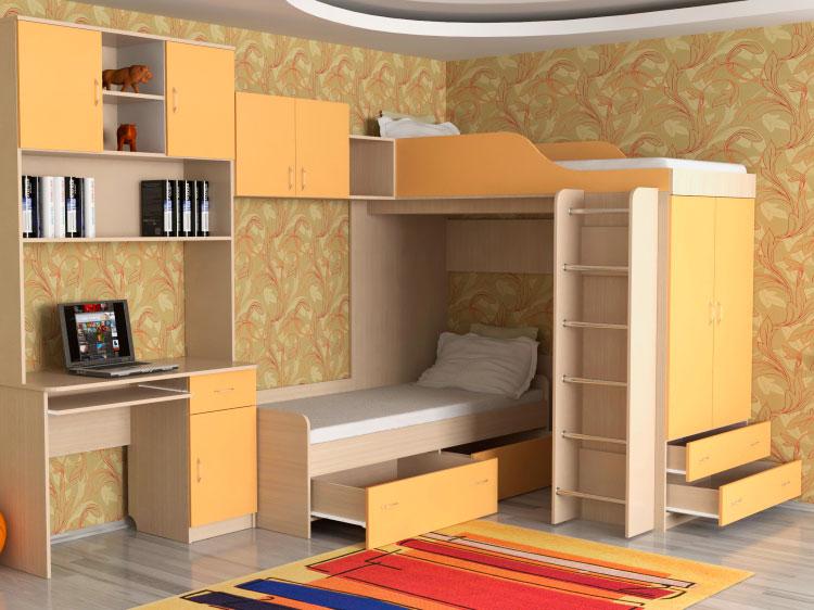Угловая детская стенка с двухъярусной кроватью и рабочей зоной