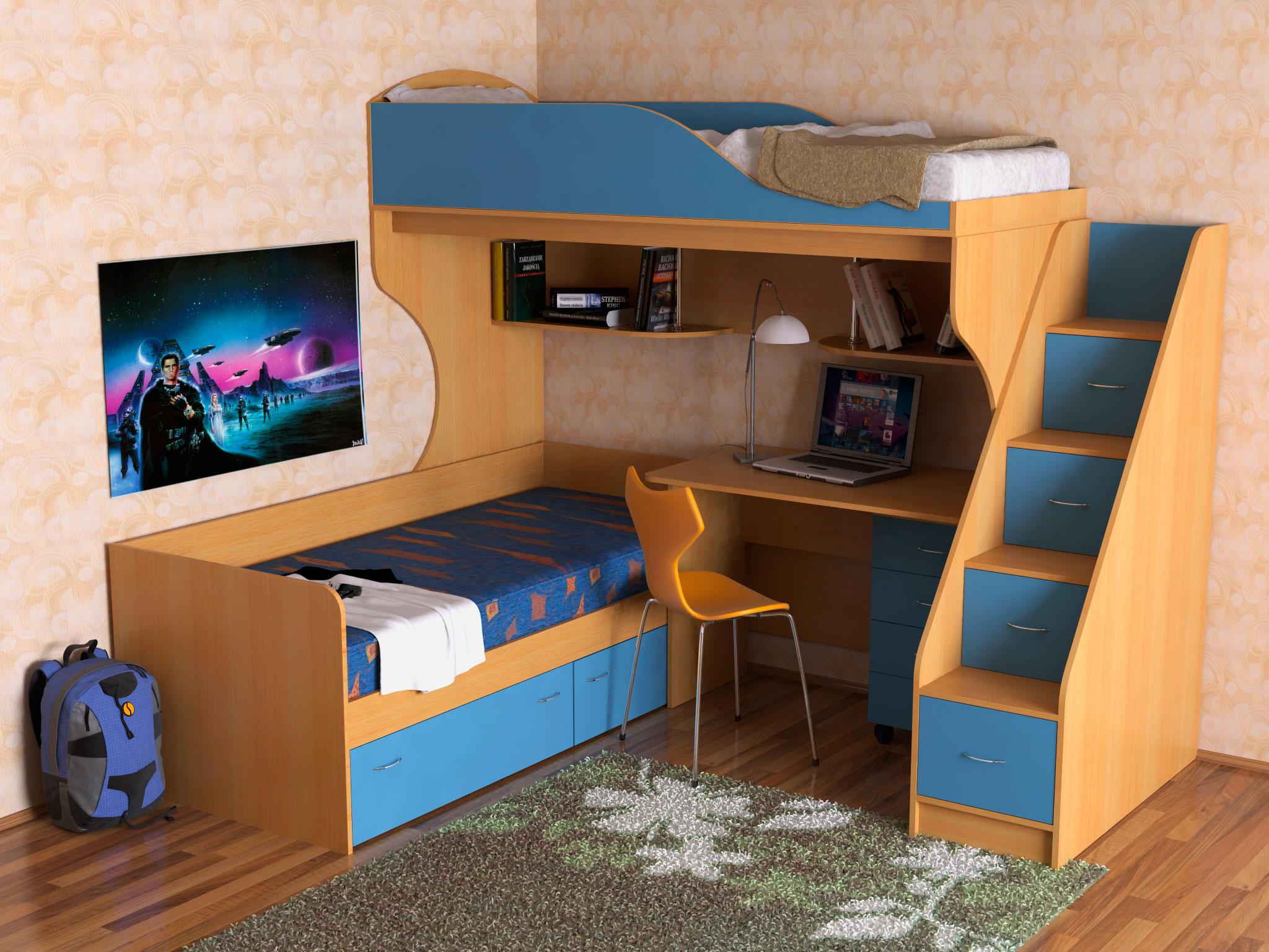 Детская двухъярусная кровать со столом (25)