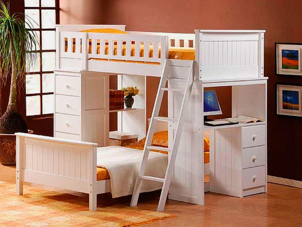 Детская двухъярусная кровать со столом (26)
