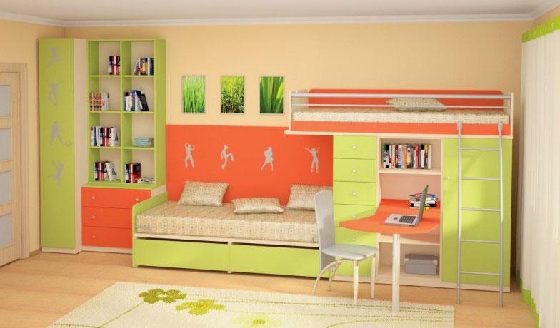 Фото детской комнаты с двухъярусной кроватью совмещенной со столом