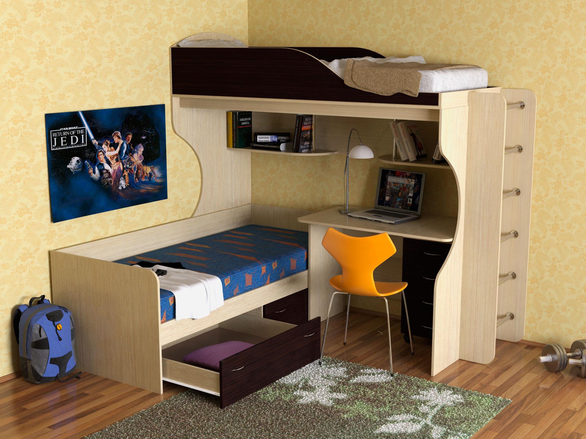 Детская двухъярусная кровать со столом (28)
