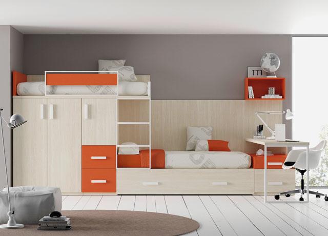 Детская стенка с двухъярусной кроватью, столом и шкафом