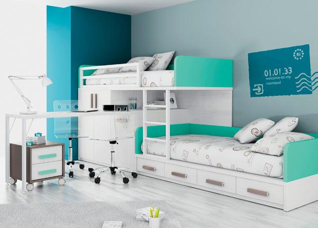 Фото двухъярусной кровати со стационарным компьютерным столом