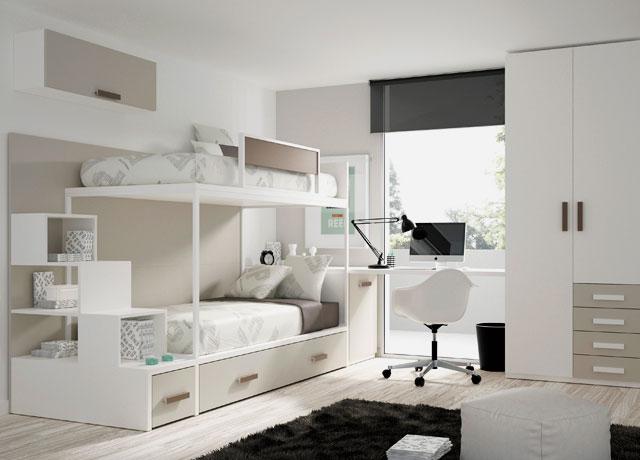Интерьер комнаты с двуспальной кроватью совмещенной с компьютерным столом