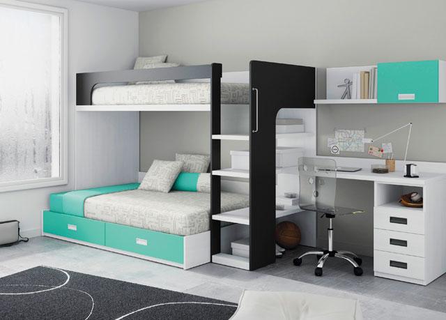 Фото комнаты подростков с двухъярусной кроватью имеющей компьютерный стол