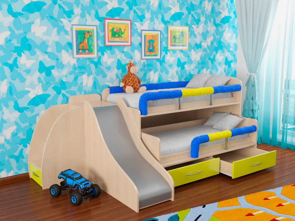 Фото детской кровати-матрешки с приставной горкой