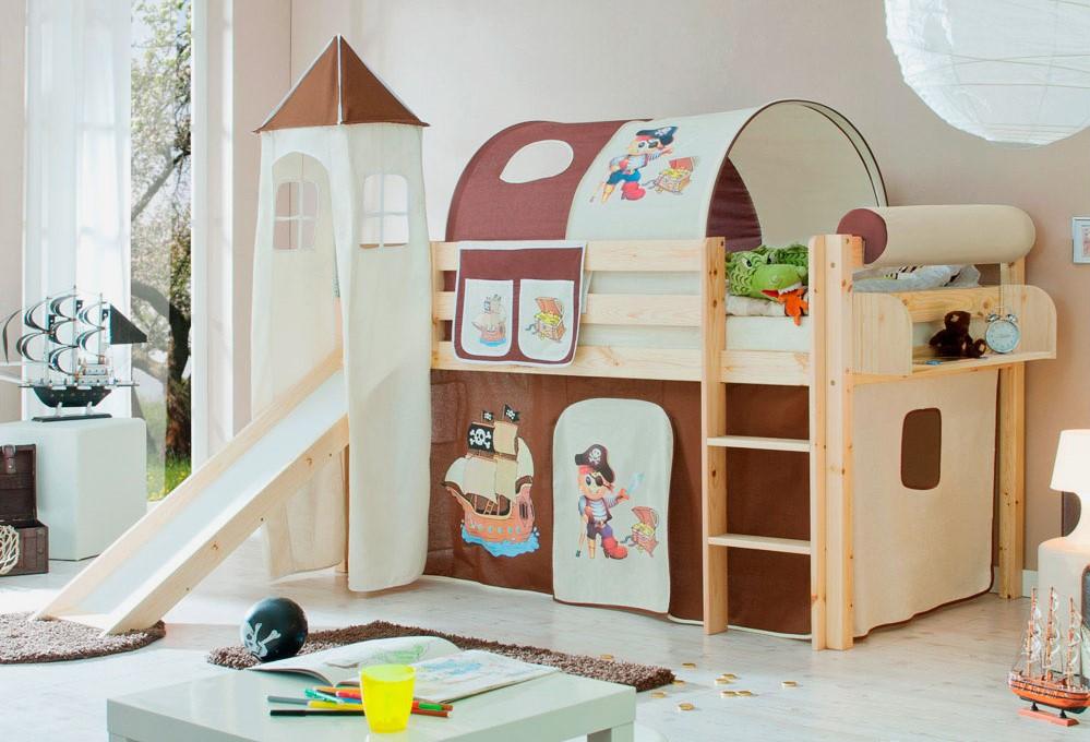 Детская кровать для мальчиков с горкой в интерьере