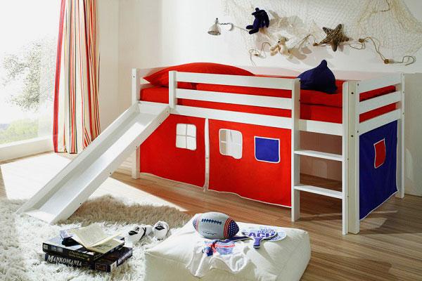 Кровать чердак для детей с горкой