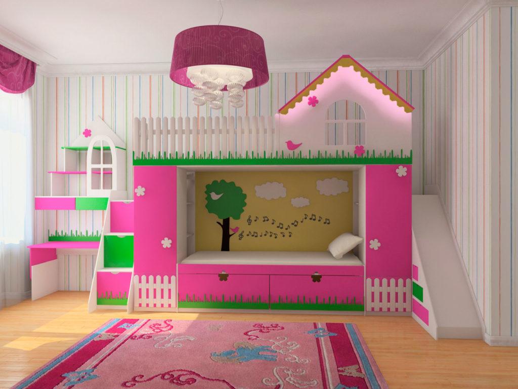Большая двухъярусная кровать для девочек в виде домика с горкой