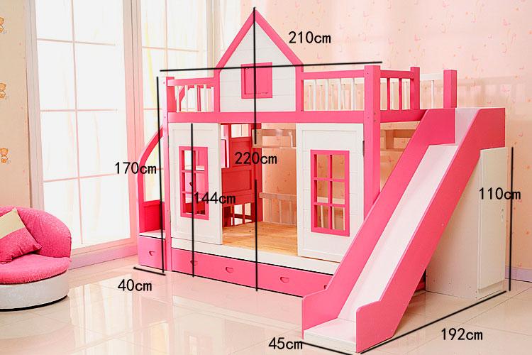 Кровать чердак для девочек в виде домика с горкой