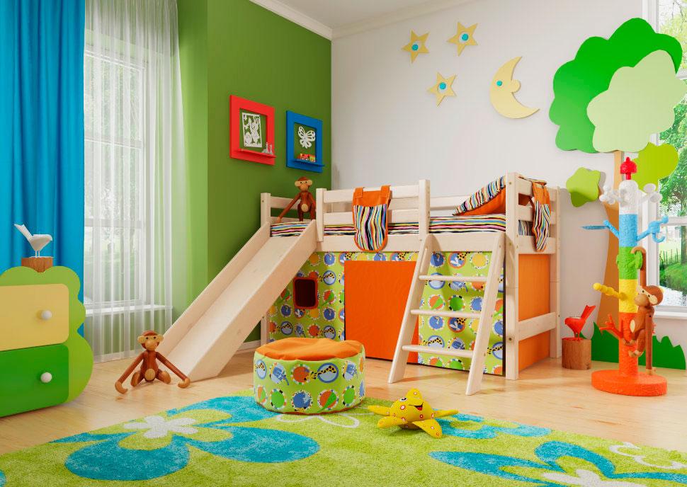 Детская кровать чердак с горкой и свободной игровой зоной