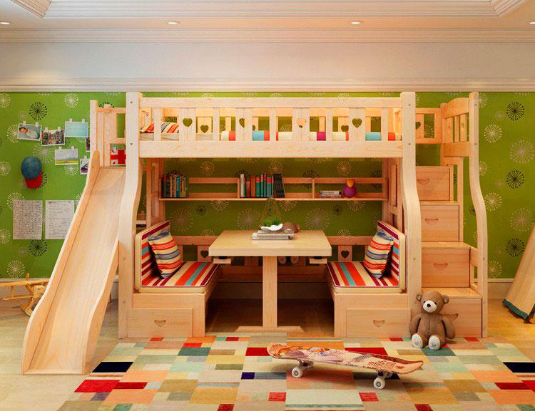Детская кровать чердак с двумя диванами и столиком внизу и горкой