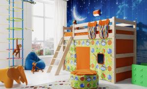 Кровать-чердак с игровой зоной внизу