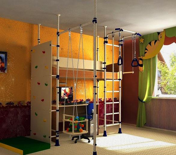 Детская кровать-чердак со спортивным инвентарем