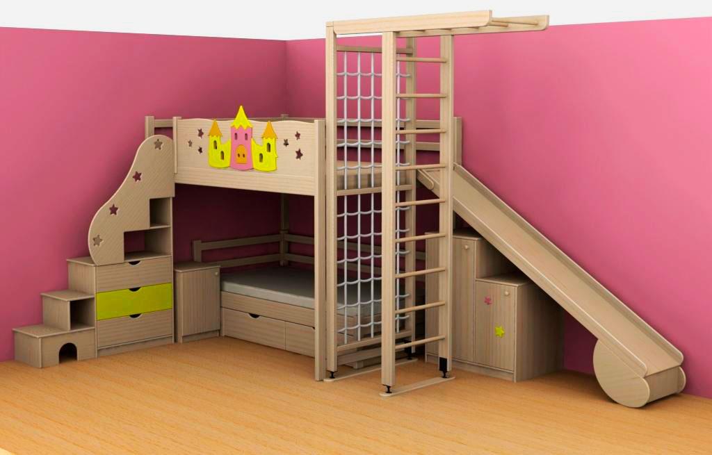 Детская кровать с игровой зоной (32)