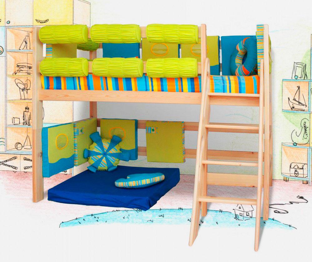 Кровать чердак со свободным игровым пространством внизу