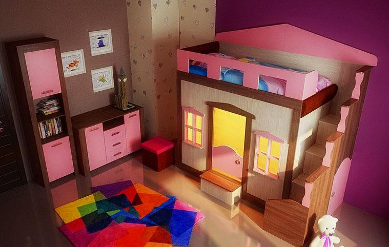 Детская кровать с игровой зоной (9)