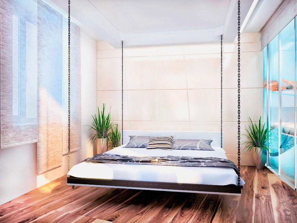 Двуспальная лифт-кровать спускаемая с потолка на цепях