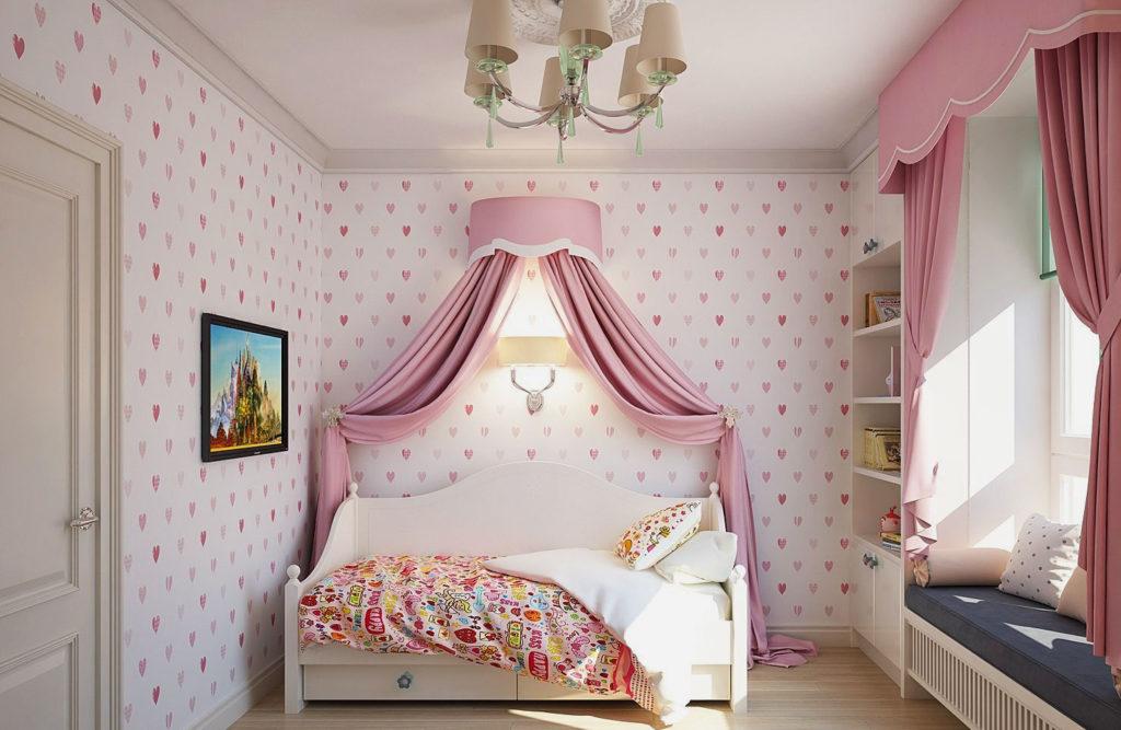 Кровать с балдахином в интерьере спальной девочки