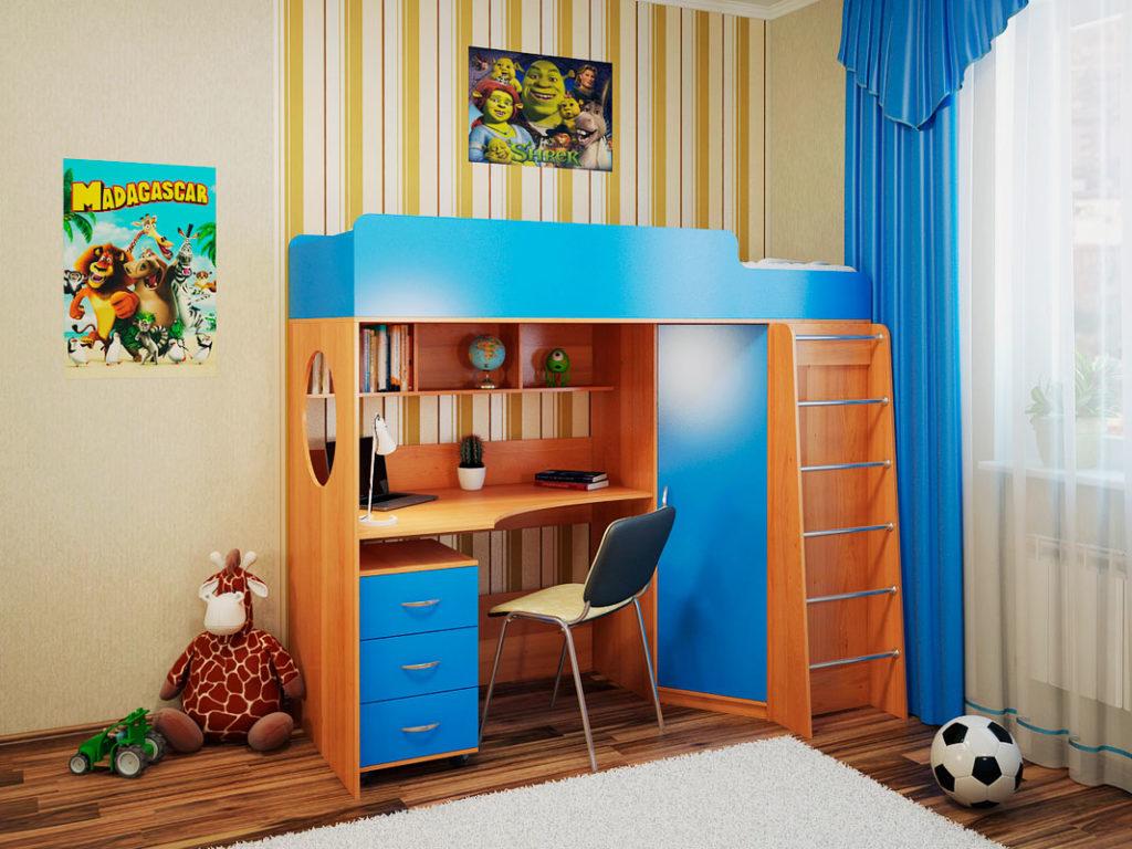 Детская кровать-чердак с рабочей зоной внизу