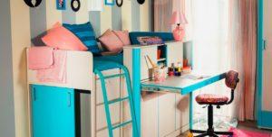 Фото детской кровати с выдвижным столом