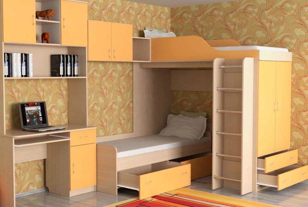 Детская стенка с двухъярусной кроватью и столом