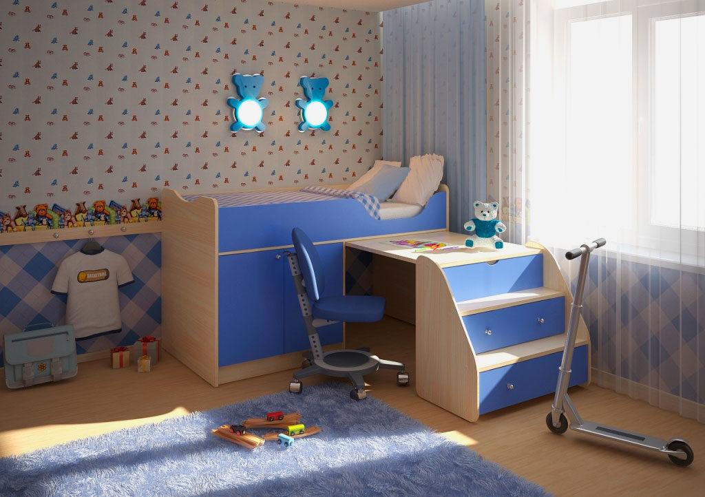 Низкая кровать-чердак для детей со столом