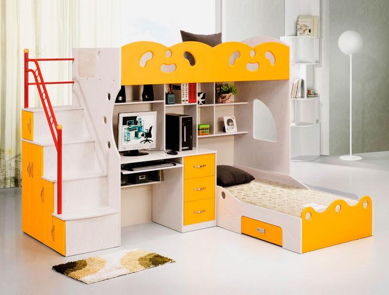 Двухъярусная кровать для детей со встроенной рабочей зоной