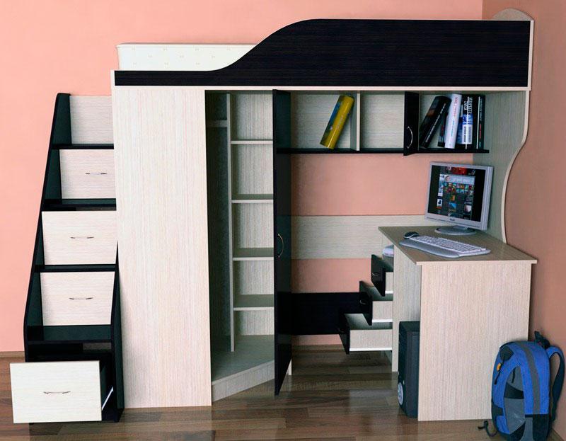 Кровать-чердак для школьника с прямым столом