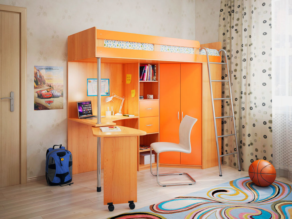Кровать-чердак с двумя столами в интерьере детской комнаты