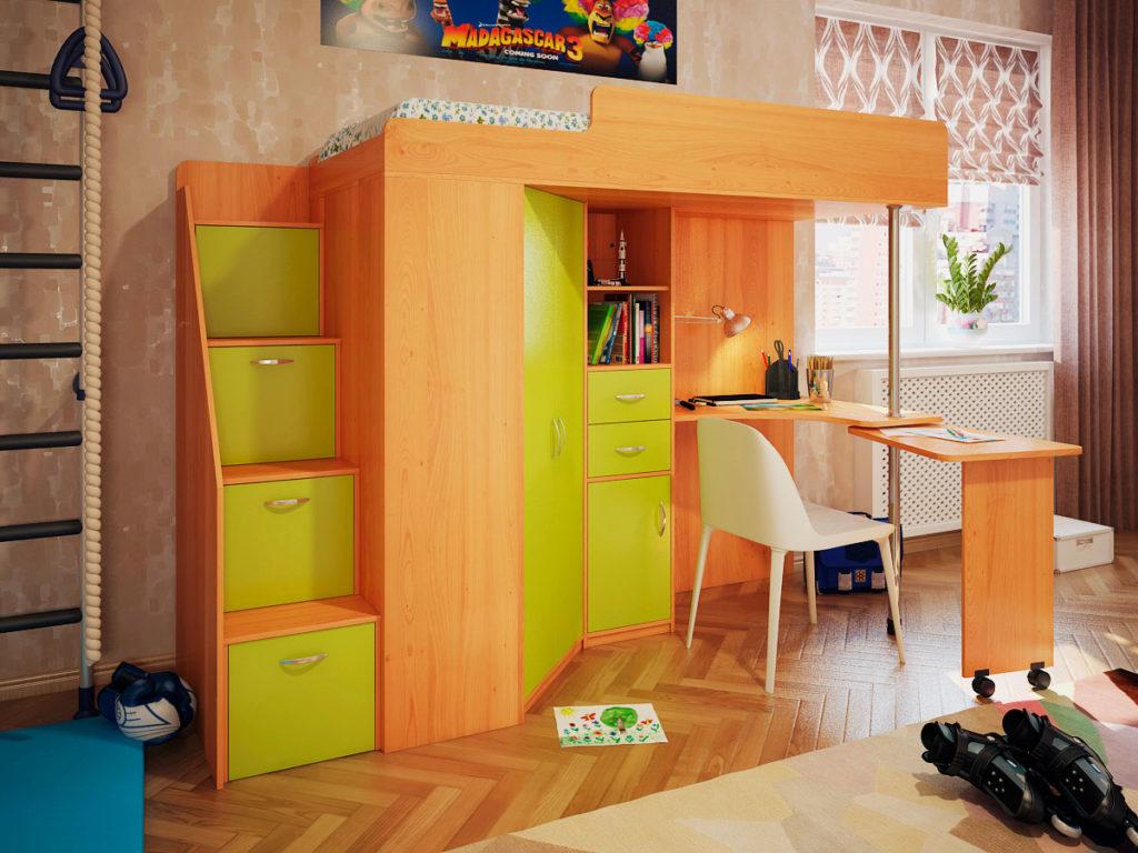 Кровать чердак с поворотным столом в интерьере детской