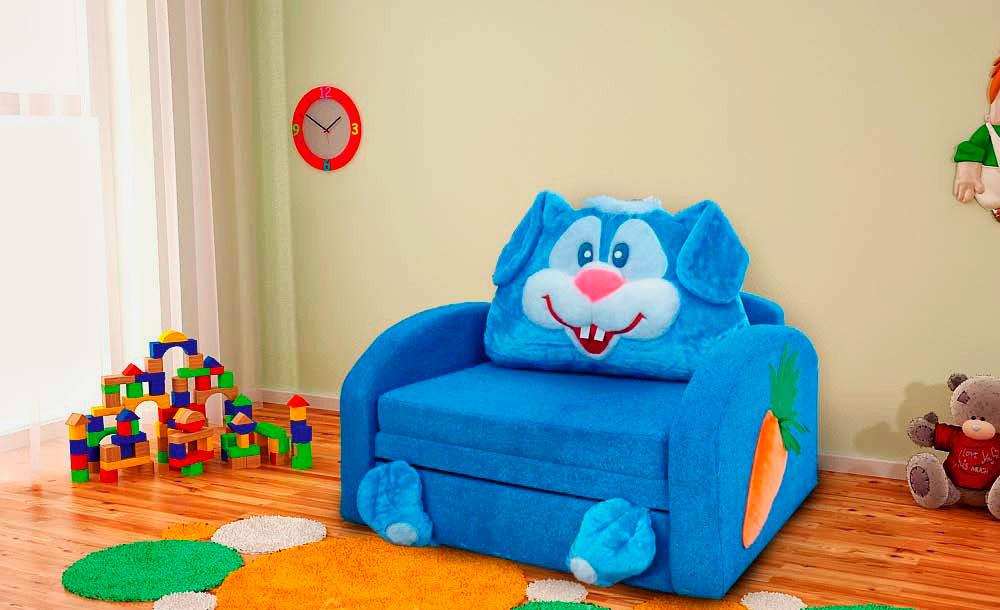 Детское кресло-кровать в виде голубого зайца
