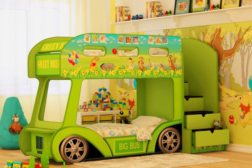 Детская двухэтажная кровать в виде автобуса