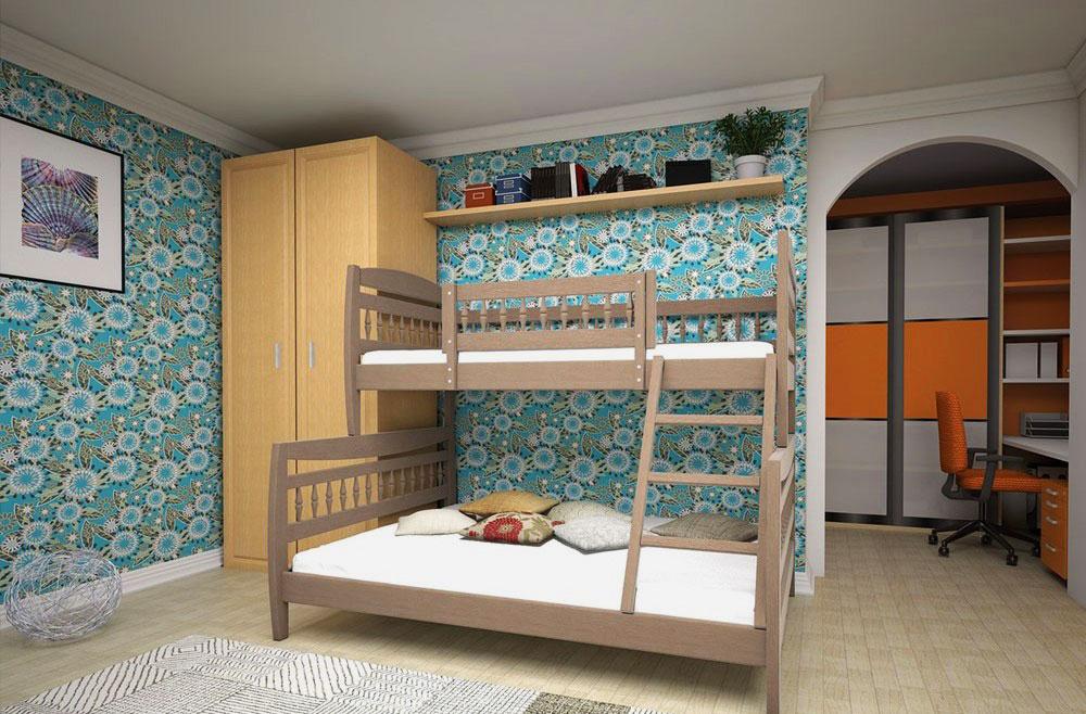 Двухэтажная кровать с двуспальной койкой внизу