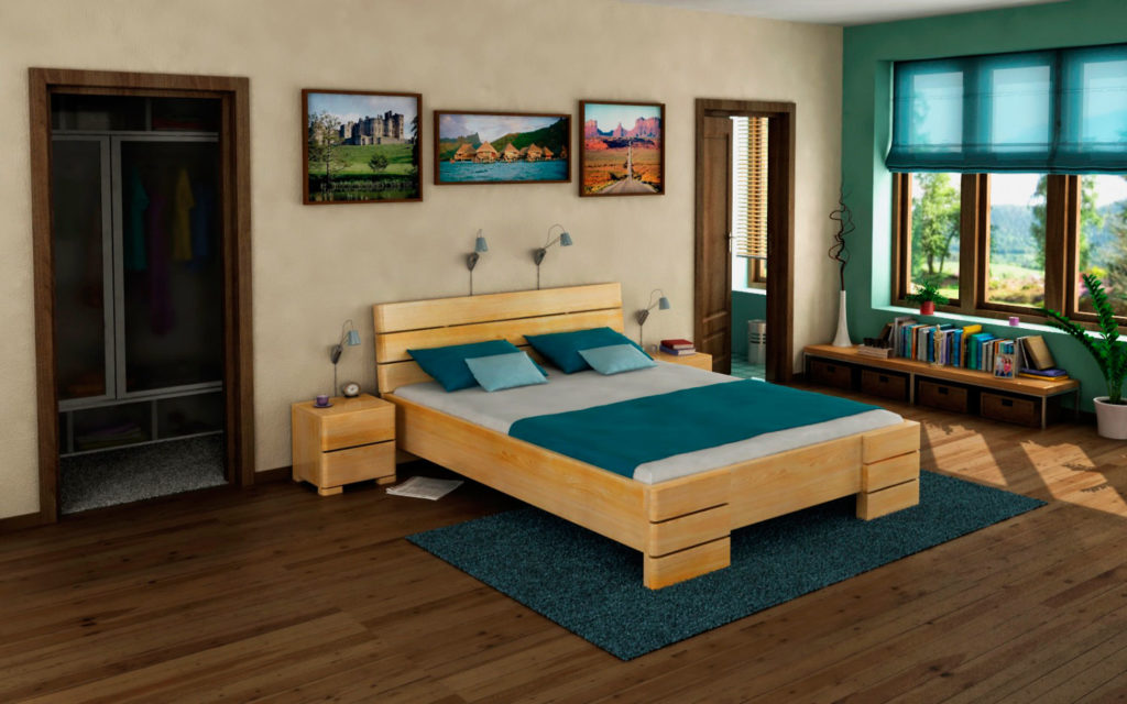 Фото двуспальной кровати в интерьере