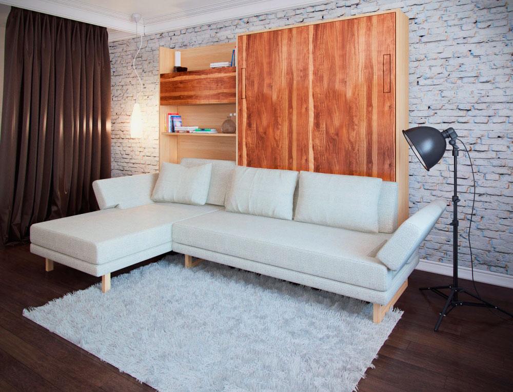 Фото двухъярусной откидной кровати в интерьере комнаты малогабаритной квартиры