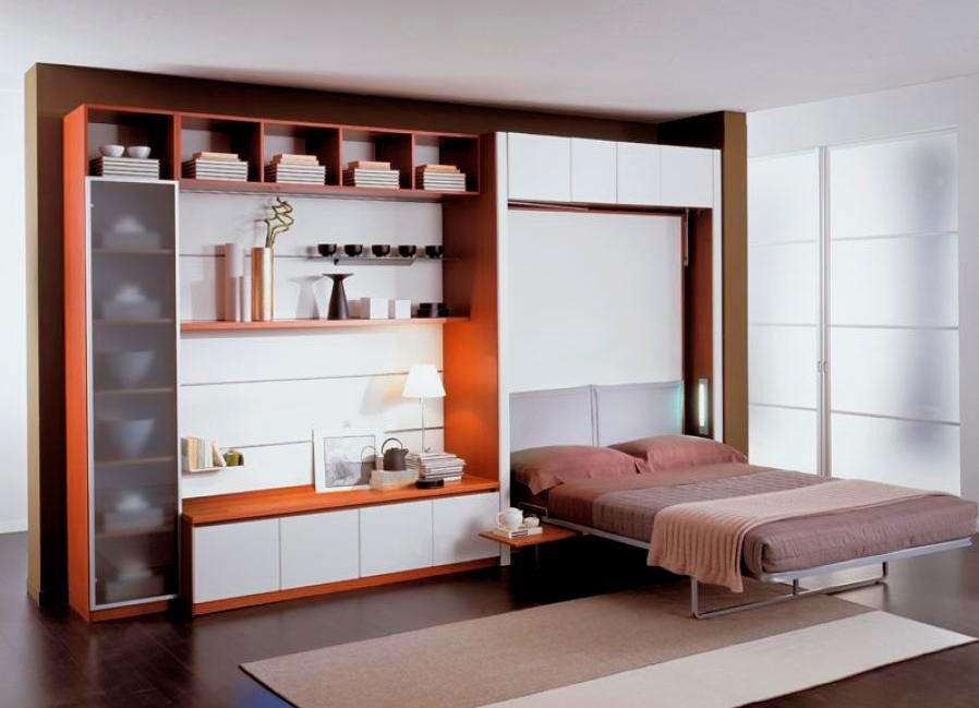 Стенка для гостиной со встроенной трансформируемой откидной кроватью