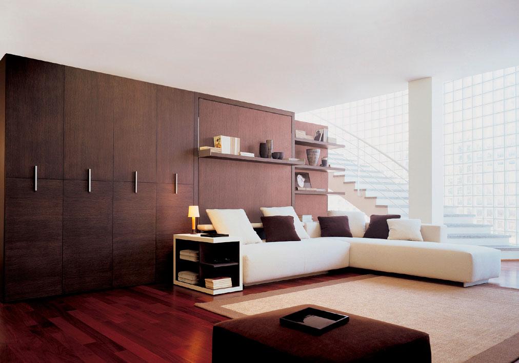 Двуспальная кровать трансформер встроенная в стенку с большим угловым диваном