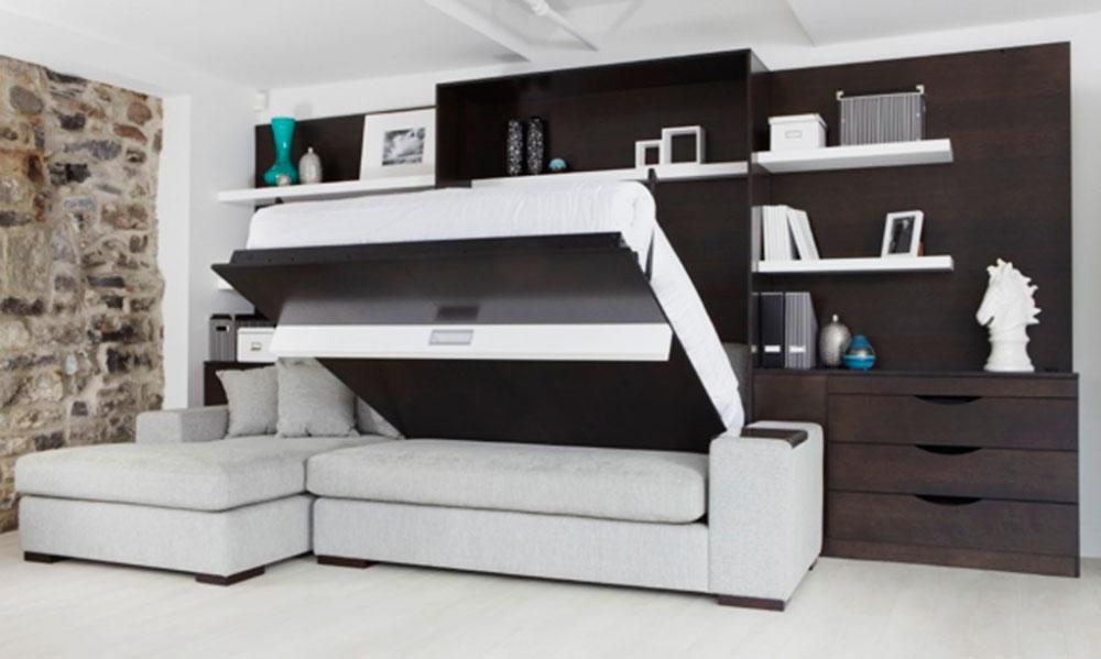 Фото двуспальной откидной вертикальной кроватью в интерьере